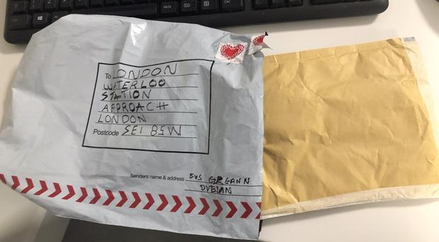 A package addressed to Waterloo(Metropolitan Police/PA)