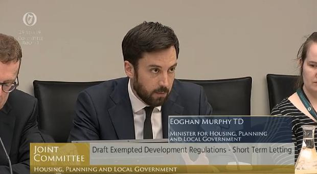 Housing Minister Eoghan Murphy appearing before the Housing committee on Wednesday (PA)
