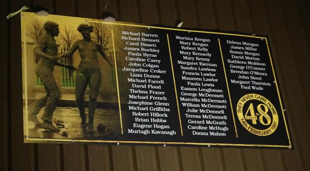 A plaque in memory of the 48 people who died in the Stardust nightclub fire in Dublin (Niall Carson/PA)