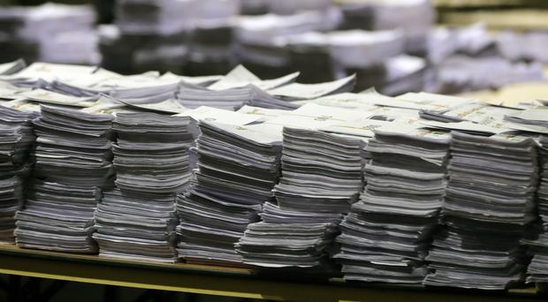 There are more than 130 count staff and 20 supervisors counting the ballots (Niall Carson/PA)