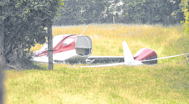 The remains of the crashed light aircraft in Co Kildare