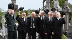 James Joyce enthusiasts at Glasnevin Cemetery in full costume to mark Bloomsday (Brian Lawless/PA).