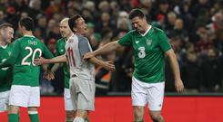 Niall Quinn and Vladimir Smicer after the Sean Cox fundraising match (Brian Lawless/PA)