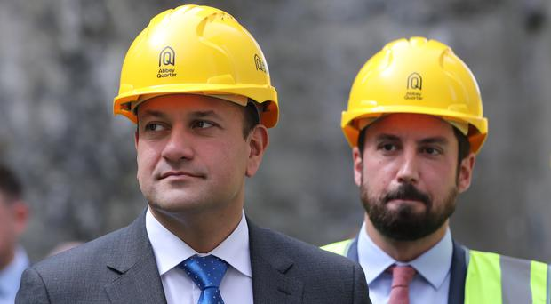 Taoiseach Leo Varadkar and Housing Minister Eoghan Murphy at the launch of the development of the Brewhouse building on the Abbey Quarter site in Kilkenny (Niall Carson/PA)