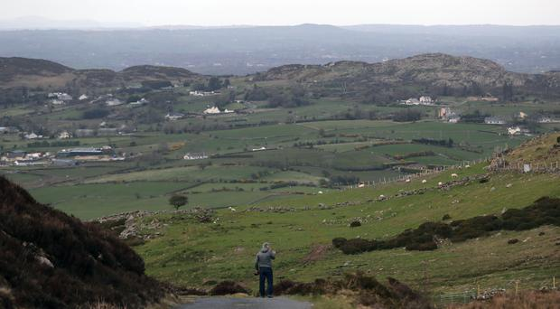 A man looks across the border between the Republic of Ireland and Northern Ireland (Niall Carson/PA)