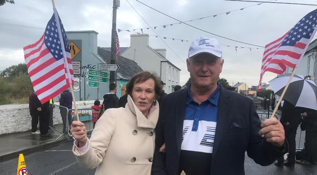 Sheila and Larry Sheehan who travelled to Doonbeg to meet vice president Pence (Aoife Moore/PA)