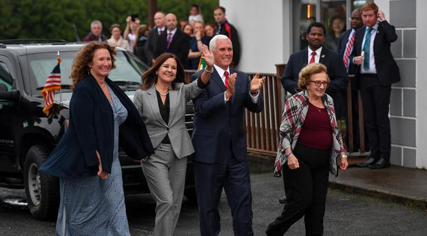 Vice President Mike Pence (centre), arrives in Doonbeg (Jacob King/PA)