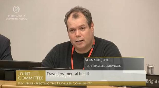 Bernard Joyce, director of Irish Traveller Movement, said there has been at least 30 suicide deaths in Traveller communities in Ireland this year (Oireachtas Committee./PA)