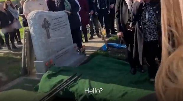 The recording was played at the graveside (Scereengrab/PA)