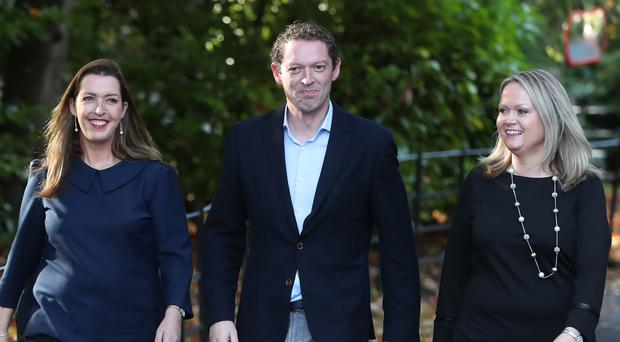 (left to right) Campaigners Vicky Phelan, Stephen Teap and Lorraine Walsh (Niall Carson/PA)