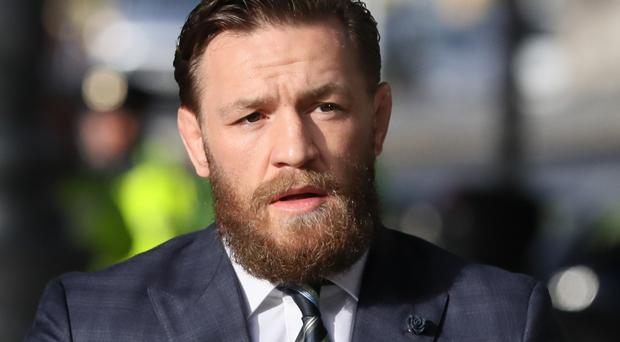 UFC fighter Conor McGregor at the Criminal Courts of Justice, Dublin last month (PA)