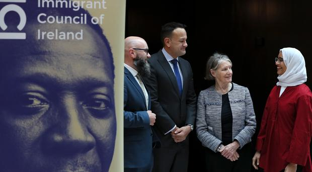 An Taoiseach Leo Varadkar (second left) with Brian Killoran, CEO of the Immigrant Council of Ireland (left), Sr. Stanislaus Kennedy and Raneem Saleh (right) at the Integration and Inclusion Conference hosted by the Immigrant Council of Ireland at the Radisson Blu hotel in Dublin.