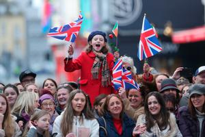 Crowds greet the royal couple in Galway
