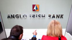 The former sign of the disgraced Anglo Irish Bank is on display at the National Museum of Ireland