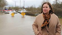 Sinn Fein Leader Mary Lou McDonald looks at flood prevention measures in the Mill Bank area of Athlone, in County Westmeath.