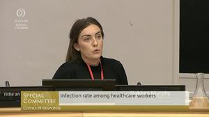 "Siobhan Murphy, a staff nurse, told the Special Committee on Covid-19 Response that the physiological impact of Covid-19 has been ""detrimental"" to herself and her colleagues. Picture is screenshot of Oireachtas TV."