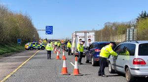 Officers carrying out checks outside Dublin (Garda/PA)