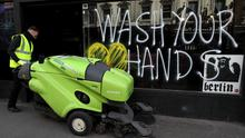 Graffiti in Dublin reminds people to wash their hands (Brian Lawless/PA)