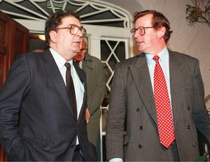 John Hume with David Trimble (PA)
