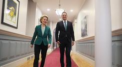 European Commission president Ursula von der Leyen with Taoiseach Leo Varadkar as he welcomes her to Dublin (Brian Lawless/PA)