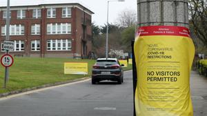 Signs at the entrance to the Bon Secours Hospital in Dublin announcing No Visitors Permitted (Except In Exceptional Circumstances) (Brian Lawless/PA)