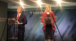 Fianna Fail's finance spokesman Michael McGrath and Brexit spokeswoman Lisa Chambers (Cate McCurry/PA)