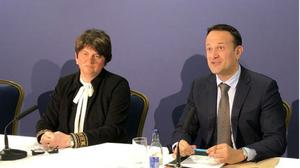 Northern Ireland's First Minister Arlene Foster, left, and Irish Premier Leo Varadkar (Aine McMahon/PA)