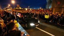 Crowds line the street as a hearse carrying the coffin of Munster Rugby head coach Anthony Foley passes Thomond Park in Limerick yesterday