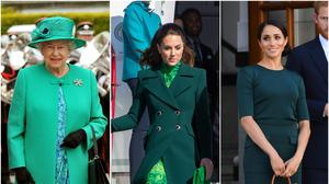 The Queen, the Duchess of Cambridge and the Duchess of Sussex in Ireland wearing green (PA)