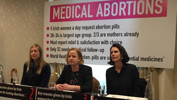 Academic Abigail Aiken (left), TD Ruth Coppinger and Dr Rebecca Gomperts at a press conference in Dublin on medical abortion pills (Laura Paterson/PA)