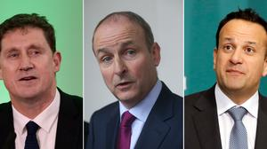 Composite image of (left to right) Green Party leader Eamon Ryan, Fianna Fail leader Michael Martin, and Taoiseach Leo Varadkar, after Fianna Fail, Fine Gael and the Greens finalised the text of a draft programme for government four months on from the election.