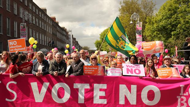 Demonstrators in Dublin campaign for the retention of the Eighth Amendment (Niall Carson/PA)