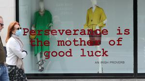 The Brown Thomas window display on Grafton street in Dublin as businesses prepare to reopen (Brian Lawless/PA)