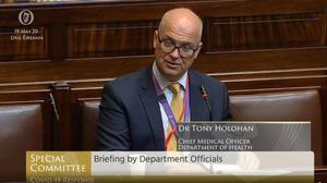 Dr Tony Holohan told the Covid-19 committee that the practice represented a breach of confidentiality (Oireachtas TV/PA)