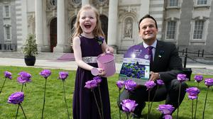 Taoiseach Leo Varadkar joined CF patient Ruth Forster for the launch of last year's 65 Roses Day appeal (Brian Lawless/PA)