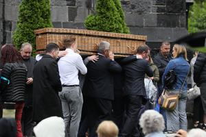 Mrs Morrissey's coffin arrives for her funeral at Mary Magdalene Church, Monaleen, Co Limerick (Brian Lawless/PA)