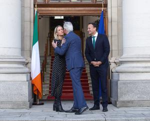 EU's chief Brexit negotiator Michel Barnier and Helen McEntee with Taoiseach Leo Varadkar (Damian Eagers/PA)