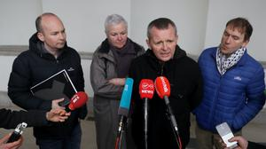 Solidarity – People Before Profit TD's (from left) Paul Murphy, Brid Smith, Richard Boyd Barrett and Gino Kenny speaking to the media at Leinster House, Dublin, for the first sitting of the 33rd Dail (Brian Lawless/PA)