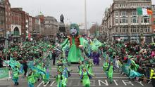 Participants take part in the St Patrick's Day parade on the streets of Dublin in 2017 (PA)