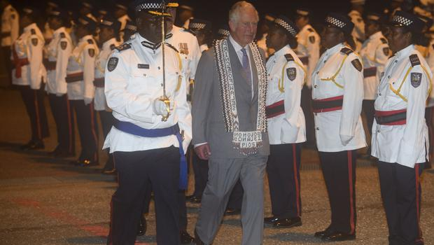 The Prince of Wales is greeted at Honiara International Airport (Tim Rook/PA)