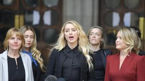Amber Heard gave a statement outside the Royal Courts of Justice on the final day of Johnny Depp's libel action against The Sun newspaper (Victoria Jones/PA)