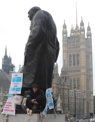 Anti-war demonstrator Maria Gallastegui protested on the statue in 2009 (Stefan Rousseau/PA)