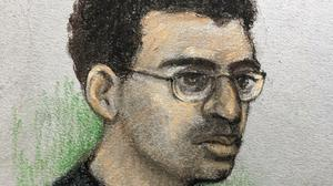 Court artist sketch of Hashem Abedi, younger brother of Manchester Arena bomber Salman Abedi, in the dock at the Old Bailey (Elizabeth Cook/PA)