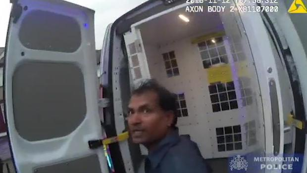 Ramanodge Muhammad was caught on police body worn camera footage after shooting his ex-wife with a crossbow (Metropolitan Police/PA)