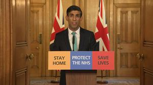 Chancellor Rishi Sunak speaks during a media briefing (PA)