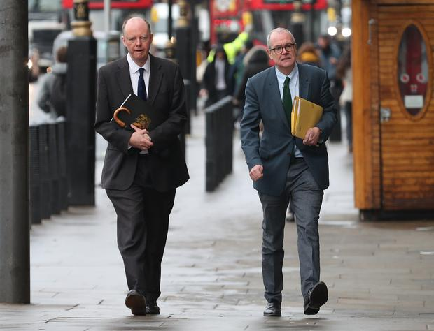 Chief medical officer Professor Chris Whitty, left, and chief scientific adviser Sir Patrick Vallance became household names during 2020 (Yui Mok/PA)