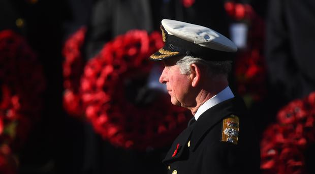 The Prince of Wales during the Remembrance Sunday service at the Cenotaph (Victoria Jones/PA)
