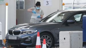 A Covid-19 drive-through test centre for NHS workers in Wembley, north-west London (Jonathan Brady/PA)