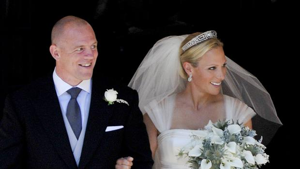 Zara Phillips and Mike Tindall after their wedding (Stuart Wallace/Sunday Times)