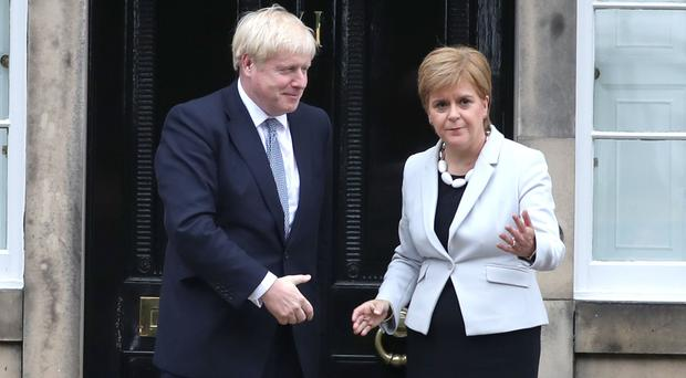 Boris Johnson would reject calls by Nicola Sturgeon for a second independence referendum (Jane Barlow/PA)